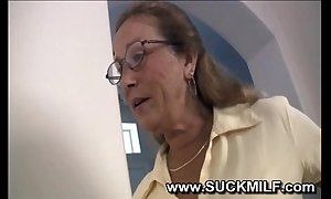Lickerish cougar granny sucks urchin
