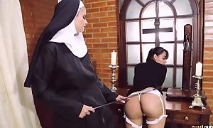 Brutal nun bonks will not hear of girlfriend with dong fake penis