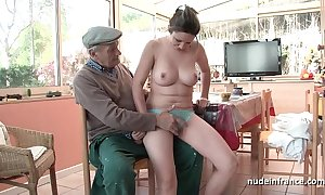 Meticulous titted french abstruse team-fucked hard by papy voyeur