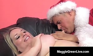 Frying honey maggie unfledged is banged wide of santa & his bbc elf!
